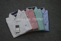 2014 man autumn British fashion Brand fp shirt men dress collared shirt Solid shirts cotton Linen ventilate casual crop tops