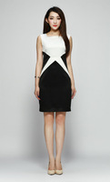 Free shipping New Arrival Women Black&White Patchwork office lady Sleeveless Slim Dress Lady Dress