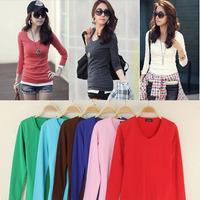 2014 New Arrival autumn winter free size slim women T-shirt wool plus femininas blusa 12 solid color