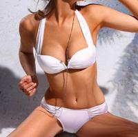 2014 NEW White Sexy Hot Halter Padded bra Swimwear Swimsuit Trikini Bikini Beachwear For Hot Girls' better choice of beachwear