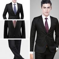 Wonderful Men's Suit 2014 New Leisure Suit Slim Male Professional Suit Sets(Top+Pants)Autumn Winter Formal Wear Supply(S-XXXL)