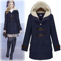 Casual Hooded Star Style Women's Winter Single Breasted Wool Coat, Navy Blue or Beige Fashion Woolen Jacket
