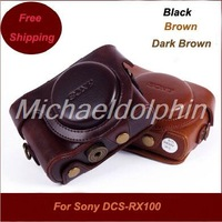 Free shipping PU leather camera case for Sony RX100 camera bag for Sony RX100