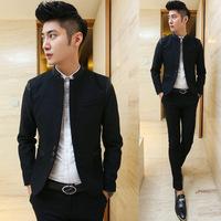2014 slim design patchwork woolen stand collar blazer free shipping
