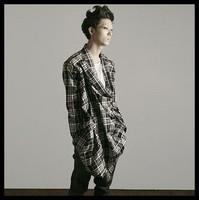 2014 man plaid shirt punk style personalized novelty men's long-sleeve shirt