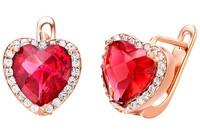 2 colors earrings for women jewelry rose gold red crystal ear stud female Clip Earrings purple gem stone heart  free shipping