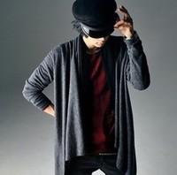 2014 new arrival mens irregular novelty cape long t-shirt male super cool punk style t shirts