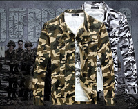 2014 male outerwear personality casual Camouflage outerwear fashion turn-down collar jacket free shipping