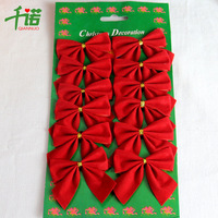 Christmas decoration christmas tree hangings Christmas supplies red small bow 12 / 1 plate