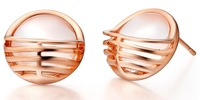 High quality rose gold plated stud earring white opal stone earrings stud earrings for women  female fashion all-match