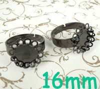 (60 pieces/lot) 16mm New Gunmetal Black tone Round Double Lace Bezel tray Cabochon Blank Bases Retro Rings Settings Wholesale