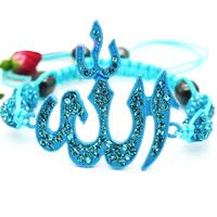 Islam Allah Charms Bracelet Rhinestones Jewelry Rhinestones Beads Woven Bracelet 4 Colors