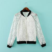 Fashion female 2014 color block lace print chiffon patchwork baseball uniform jacket perspectivity outerwear white short coat