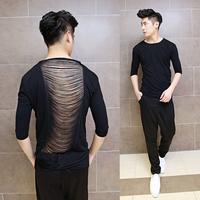 Sexy 2014 men's clothing t-shirt three quarter sleeve punk slim fashion personality back cutout t-shirt