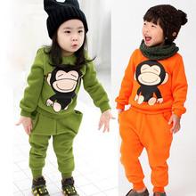 2014 autumn monkey boys clothing girls clothing child fleece sweatshirt long trousers set free shipping(China (Mainland))