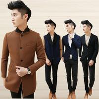 2014 winter men's overcoat male woolen trench slim outerwear free shipping