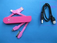 1 pcs 1 to 3 USB Charge Cable Folding Multifunctional Travel Data Line Knife Rad Color (Gift Given)
