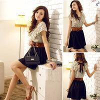 New 2014 Summer Cute Women Girls Dot Print Thin Mini Sleeveless Tunic Waist Princess Dress without Belt, S, M, L