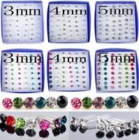 24pairs Wholesale Lot Charming Clear Rhinestone Crystal Ear Studs Earrings Hot!