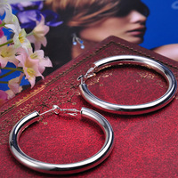 Fashion charming Stunning 925 Silver Plated Circle smoothly unisex Hoop Earrings Hot Sale ER496