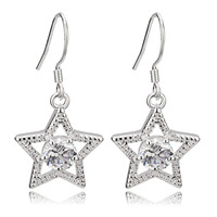 [Arinna Jewelry] 18K white gold plated silvery Earrings water Crystal Cubic Zircon denpant Earring for Women E2886