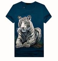 [Magic]hot sale 3D Tiger cotton short sleeve o-neck men's t-shirt thin slim style size M-3XL free shipping