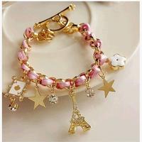 Min.order is $15 (mix order)Free Shipping Women Fashion Poker Flowers Leather Rope Paris Eiffel Tower Crown Bracelet (LS162)