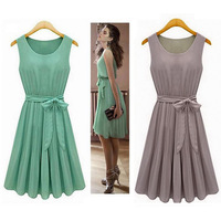 Hot Sales! New 2014 Summer Casual Women Chiffon Vest Knee-Length Pleated Dress with Sashes, Green, Brown, S, M, L, XL