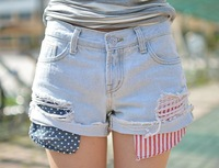Hot sale Spring summer Low waist sexy babes exposed pocket denim shorts shorts female casual short pants fashion skinny jeans