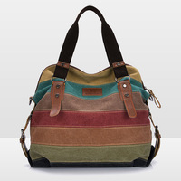 2014 NEW Designer Fashion Korean Style Women Canvas Handbags Casual Striped Lady Shoulder Bag Women Messenger Bags Free Shipping