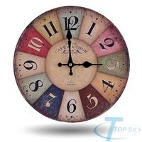 European-style Rustic Colorful Wooden Vingtage Wall Clock Retro clock For Living Room Reloj de pared Horloge murale