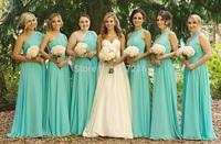 Elegant mint bridesmaid dresses! Sexy one shoulder backless gown custom made graceful A line mint long chiffon bridesmaid dress
