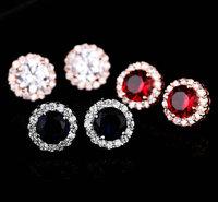 Brand new fashion Classic design Cubic zircon round princess stud earrings