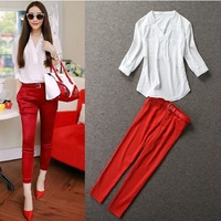 M861 New Arrival 2014 Summer Fashion Casual Clothing Sets Women's White V-neck Blouse Shirt With Red Skinny Pants 2 Piece Sets