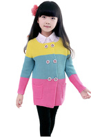New Autumn &Winter 3~15 Girls Sweater Cardigan Long Sleeve Wool Sweaters Children Striped Clothing Baby Girl Clothes