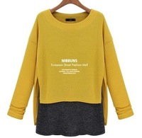 2014 new  two piece suit long sleeves weaters T-shirt girl loose stitching long bottoming shirt dress