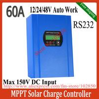 60A MPPT Solar Charger Controller,solar panel battery regulator 12/24/48V Auto,Max Solar input 150V,RS232communication