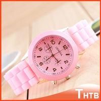 Women dress watches Geneva wristwatch Fashion quartz watch silicone strap quartz wrist watch for Ladies Women Male Student