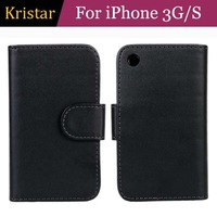 30pcs/lot Wallet Stand Leather Case with 2 Card Slots For iPhone 3G/S Free Shipping
