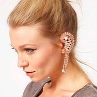 Women 2014 New Fashion Full Rhinestone CZ Diamond Long Flower Dangle Drop Tassel Earrings Gold Silver  BlackSale