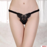 Women Sexy Underwear Transparent Mesh Bow Drill Embroidered Thongs G-String Lingerie Free Shipping Wholesale 117-A1