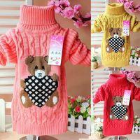 New children's cartoon bear turtleneck sweater warm baby sweaters pullover