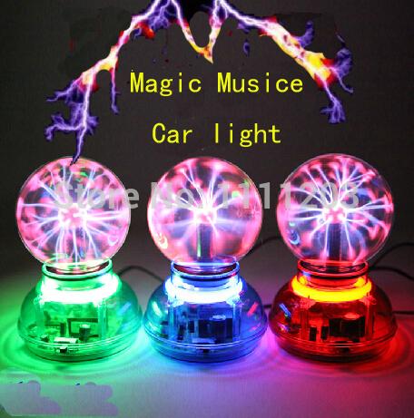 3.5 inch Magic Car charger Plasma Ball Lamp Neon Sphere Negative Ion Generator Car Light sound Music Voice Control Lightning(China (Mainland))