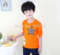 Free Shipping Boys Kids 2014 Autumn Korean Long-sleeved T-shirt Children Embroidery Pentacle Round Neck Shirt
