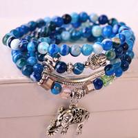 Natural agate bracelets vintage blue veined beads elephant pendant bracelets jewelry wholesale fashion women bracelet 027