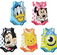 Free shipping! 2014 New Style 100% Cotton Summer Baby Bodysuit Cartoon Mickey Minnie Newborn Baby Clothing Boys Girls Jumpsuits