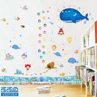 1set=4pcs,  Colorful underwater world shark fish starfish transparent pvc waterproof wall sticker mural decals decor