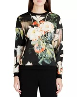 New Fashion Ladies' elegant floral pattern sports pullover blouses Casual slim O neck long Sleeve shirts brand design Tops--H810