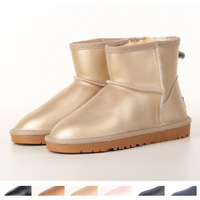 2014 new fashion women's genuine leather flat waterproof snow boots 6 kinds of metallic colors  size 34-43