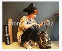 Orecchiette new cute devil horns hat wool hat knitted hat head cap sleeve women  Korean winter cap